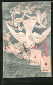 Präge-Lithographie Weisse Tauben mit Briefen