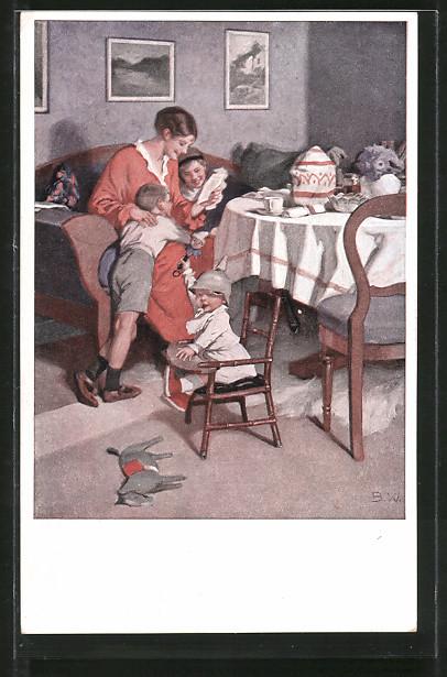 Künstler-AK Brynolf Wennerberg: Mutter liest Ihren Kindern Feldpost vor, Kleiner Junge mit Stahlhelm