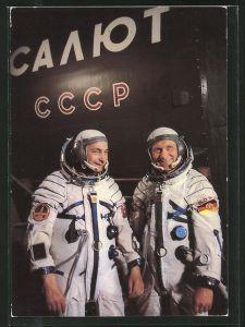 AK Kosmonauten Waleri Bykowski und Siegmund Jähn während des Trainings im Ausbildungszentrum