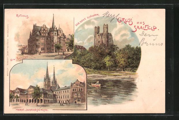 Künstler-AK Erwin Spindler: Saalfeld, Rathaus, Markt u. Johanniskirche, Burgruine Der Hohe Schwarm