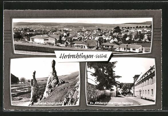 AK Herbrechtingen , Steinerne Jungfrau, Totalansicht, Ev. Kindergärtnerinnen Seminar