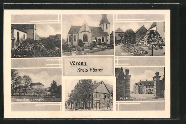 AK Vörden, Kirche, Burg Vörden, Mariengrotte