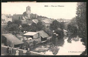 AK Brou, vue sur l'Ozanne, Kinder auf Brücke