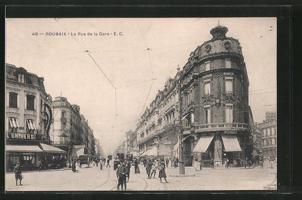 AK Roubaix, la rue de la Gare, tramway