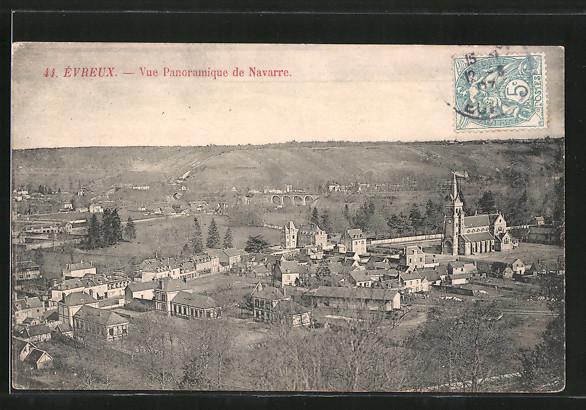 AK Évreux, vue panoramique de Navarre