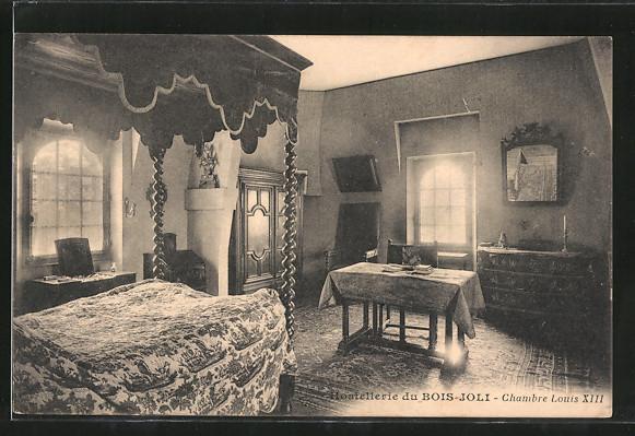 AK Bois-Joli, hostellerie du Bois-Joli, chambre Louis XIII.