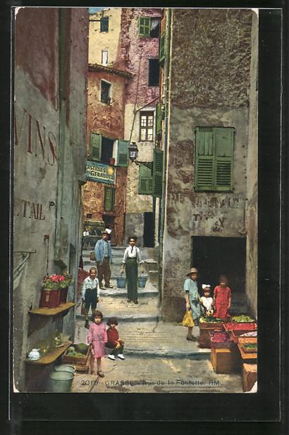 Künstler-AK Grasse, rue de la Fontette, Kinder auf Strasse