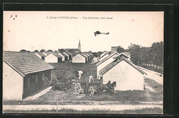 AK Avord, camp d'Avord, vue générale, Eindecker-Flugzeug