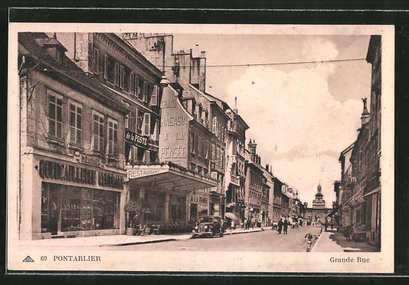 AK Pontarlier, Grande Rue, Strasse im Zentrum