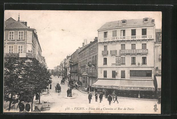 AK Vichy, place de 4 chemins et rue de Paris, Geschäfte