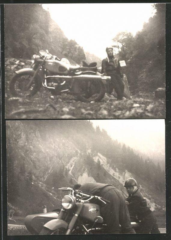 2 Fotografien Motorrad Zündapp mit Seitenwagen, Vater & Sohn bei Ausfahrt mit Krad-Gespann im Gebirge