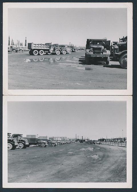 2 Fotografien LKW, Lastwagen Fuhrpark der US-Armee, verschiedene Armee-Lastwagen