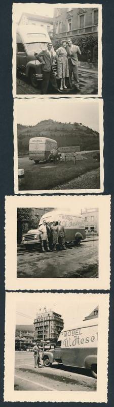 4 Fotografien LKW Hanomag Möbelkoffer, Möbel-Spedition W. Hesebeck - Ulburg, Lastwagen am Schilderbaum bei Titisee