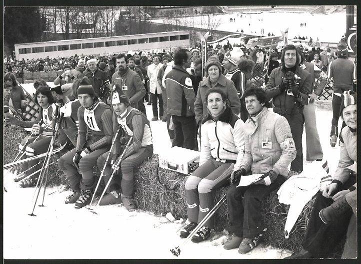 Fotografie Blumenthal, Garmisch-Partenkirchen, Ansicht Garmisch-Partenkirchen, Sportler beim Skirennen