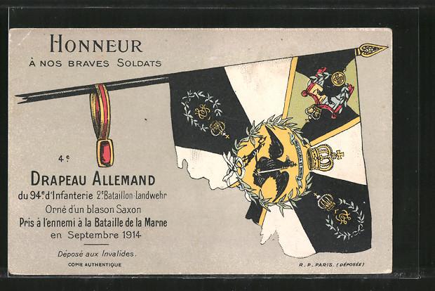 AK Drapeau Allemand du 94e d'Infanterie 2e Bataillon Landwehr, Eroberte deutsche Fahne