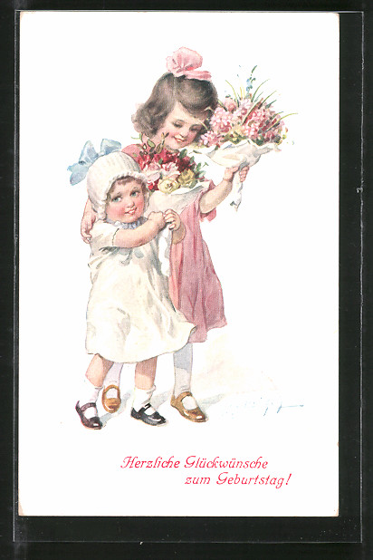 Künstler-AK E. Reckziegel: Mädchen gratulieren mit Blumensträussen zum Geburtstag