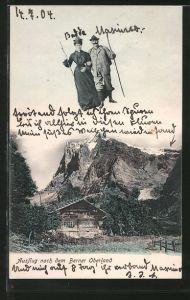 AK Bern, Fliegende Menschen über einer Berghütte im Berner Oberland