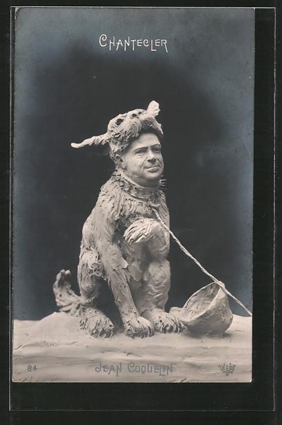 AK Schauspieler Jean Coquelin als Hund, Karikatur