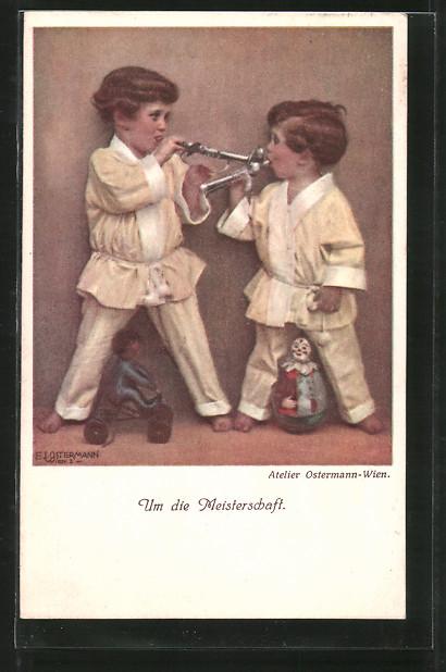 Künstler-AK F. J. Ostermann: Um die Meisterschaft, Kinder spielen Trompete 0