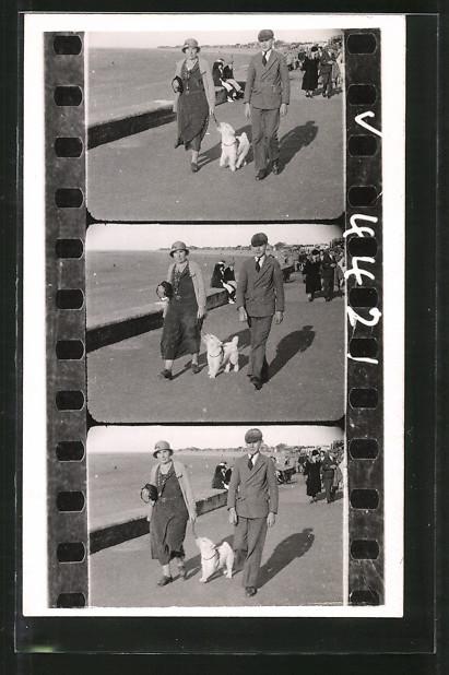 Foto-AK Paar mit Hund auf einer Strandpromenade, auf Foto-Film