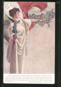 Künstler-AK Prestito Nazionale, Kriegsanleihe, Frau weist ital. Soldaten den Weg in die Schlacht