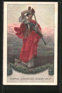 AK VI. Prestito Nazionale, Kriegerin zieht ihr Schwert, Kriegsanleihe