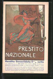Künstler-AK Prestito Nazionale, Kriegsanleihe, Italia versperrt die Tür vor Soldaten der Mittelmächte
