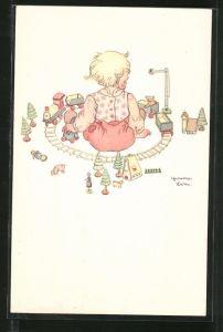 Künstler-AK Kind spielt mit der Eisenbahn, Spielzeug