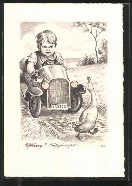 Künstler-AK Junge fährt mit Spielzeugauto als die Gans den Weg kreuzt