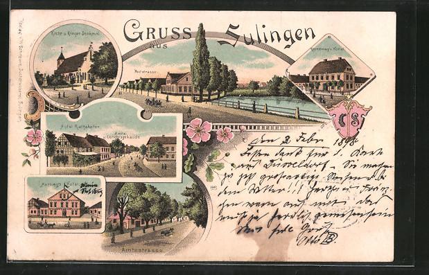 Lithographie Sulingen, Hotel Rathskeller mit Amtsgericht, Kanneweg's Hotel, Harling's Hotel