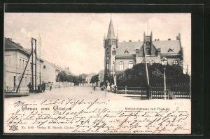 AK Güsten, Bahnhofstrasse mit Postamt