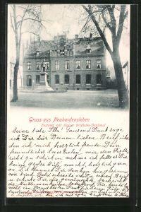 AK Neuhaldensleben, Postmt mit Kaiser Wilhelm-Denkmal