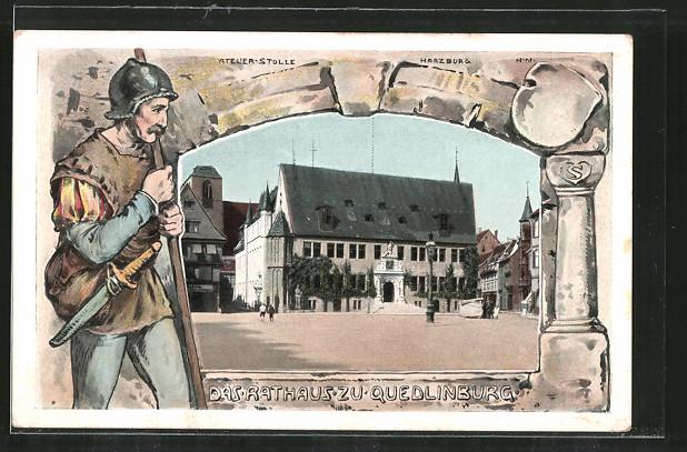 AK Quedlinburg, Blick zum Rathaus, Söldner