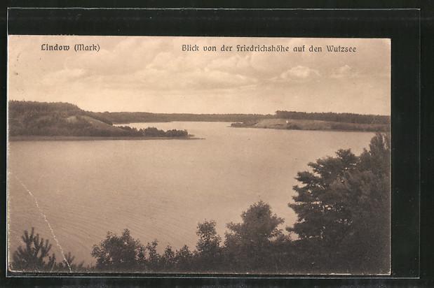 AK Lindow, Blick von der Friedrichshöhe auf den Wutzsee