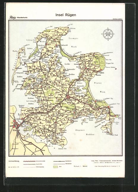 AK Bergen, Landkarte der Insel Rügen mit Umgebung