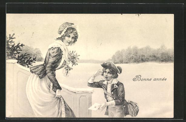 Künstler-AK Brüder Kohn (B.K.W.I) Nr.2727-1: Kleiner Postbote bringt junger Frau einen Brief