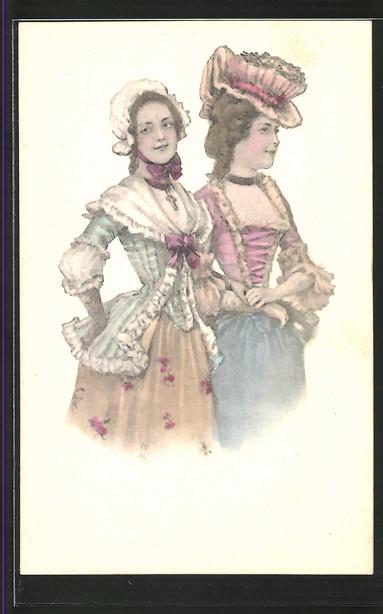 Künstler-AK Brüder Kohn (B.K.W.I) Nr.730/2: Zwei Damen beim Spaziergang