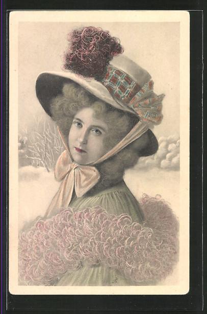 Künstler-AK Brüder Kohn (B.K.W.I) Nr.2751-4: Junge Frau im Winter