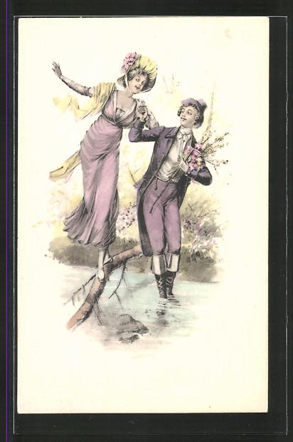 Künstler-AK Brüder Kohn (B.K.W.I) Nr.731/5: Junger Mann geleitet junge Dame über einen schmalen Baumstamm
