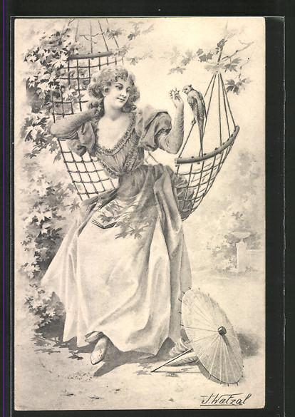 Künstler-AK Brüder Kohn (B.K.W.I) Nr.823/3: Junge Frau im Kleid auf Hängematte