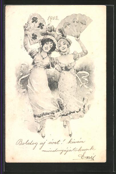 Künstler-AK Brüder Kohn (B.K.W.I) Nr.2997/4: Zwei junge Damen tanzend mit Fächer