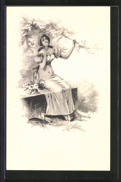 Künstler-AK Brüder Kohn (B.K.W.I) Nr.731/6: Junge Frau auf einer Bank mit Blumenkorb