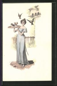 Künstler-AK Brüder Kohn (B.K.W.I) Nr.731/2: Junge Frau fütert Vögel