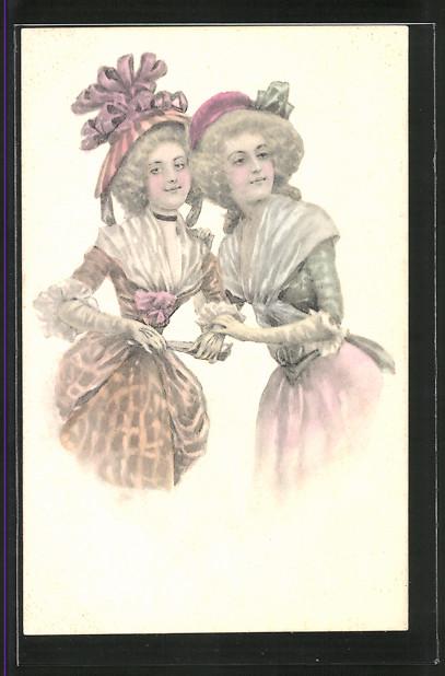 Künstler-AK Brüder Kohn (B.K.W.I) Nr.730/3: Zwei junge Frauen in Kleidern