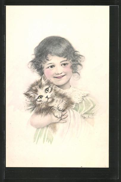 AK Kleines Mädchen mit Katze im Arm