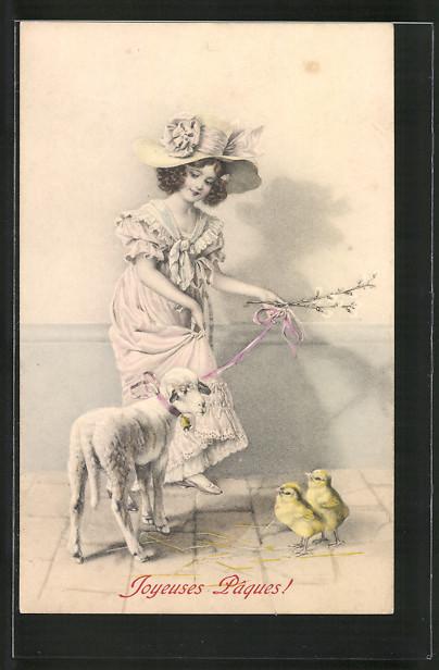 Künstler-AK M. Munk Nr. 262: Joyeuses Pâques, Mädchen mit Lamm und Osterküken