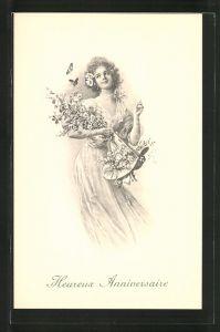 Künstler-AK M. Munk Nr. 276: Heureux Anniversaire, Fräulein und Schmetterlinge
