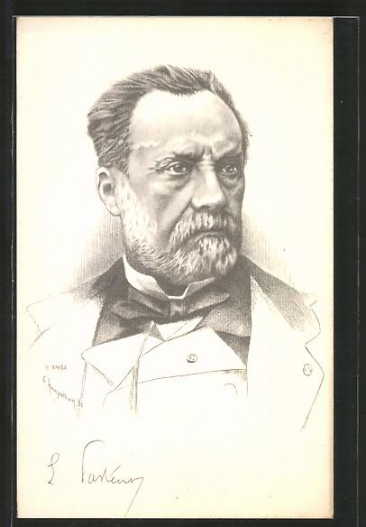 Künstler-AK Louis Pasteur, Portrait des Mediziners