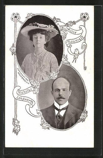 AK Alice Roosevelt und Nicholas Longworth