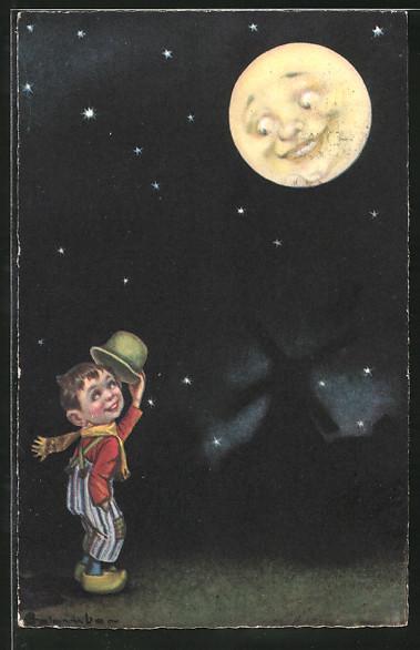 Künstler-AK E. Colombo: Junge zieht grüssend den Hut vor dem Mond
